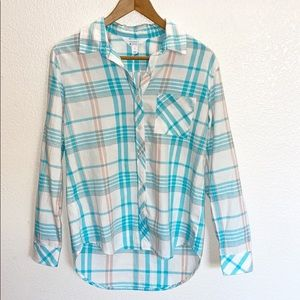 Market & Spruce Teal Pink Flannel Buttom Front Top